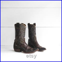 10 B (Narrow) Vintage 1960's Nocona Cowboy Boots Brown Western Pointy Toe Boots