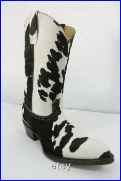 16 inches tall shaft D toe calf hair cowboy boots