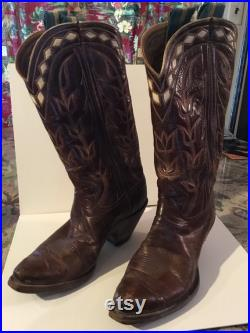 60s Embroidered Cowboy Boots with Diamond Leather accents