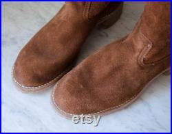 70s campus leather boots men's dark brown suede shearling cowboy boots size 10.5