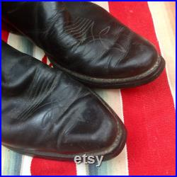 ACME vintage COWBOY BOOTS cutout red eagle black leather, cowgirl boots, Western wedding Classic country southwestern boho rodeo style ranch