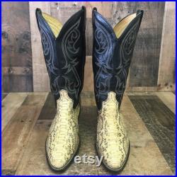 Acme Vtg Snakeskin Cowboy Boots Mens 8.5 D