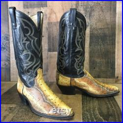 Acme Vtg Snakeskin Cowboy Boots Mens 8 D