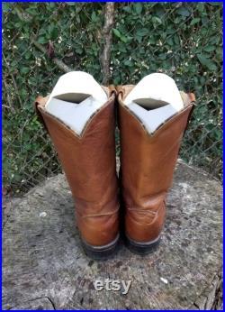 Acne Hawkeye N05 15705 Brown Roper Western Cowboy Boots 8 D Distressed Leather Cowboy Boots