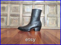 Black Leather Side Zip Ankle Cuban Heel Boots. (All Men's and Women's Sizes)