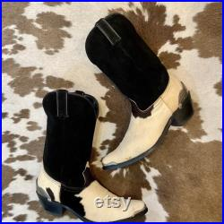 Black White and Brown Calf hair and Suede Cowboy or Cowgirl Boots from Durango men s size 9 D women s size 10 1 2