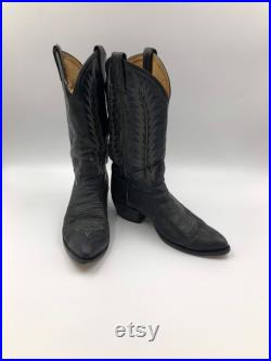 Black boots, men's boots, real leather, vintage, embroidered, with unique pattern, western style, cowboy boots, black color, size 8 1 2.