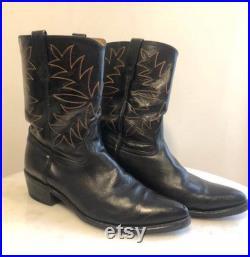 Black leather 1950s Acme Cowboy boots 9(D)