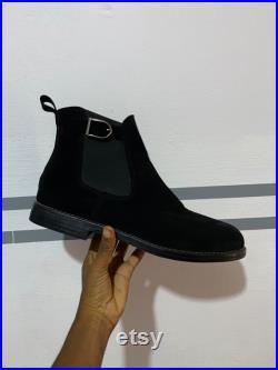 Black suede men Chelsea boot, Ankle boot men, Handmade boot, Elastic band boot, winter boots