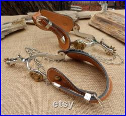 Brass Horse Head Cowboy Boot Spurs NOS Horse Head Spurs with Tooled Leather Straps and Under Boot Chains Cowboy Spurs FREE SHIPPING