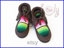 Brown Moccasins, Serape Moccasins, Womens Moccasins, Leather Moccasins, Serape Leather Boots, Mens Moccs, Boho Womens Boots, Hippie Boots