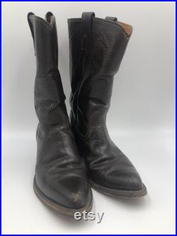 Brown heavy strong leather cowboy boots man size 9