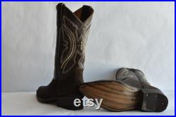 Bull Neck Leather Cowboy Boots