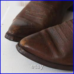 Cowboy Boots 8.5 Men's Brown BOULET Leather Western Ranch Vintage 1980s