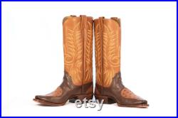 Cowboy Boots Size 9 Brown and Tan Leather