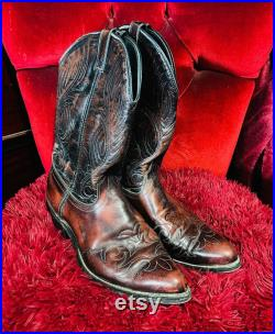 Cowboy Boots Vintage Vampire Burgundy and Boots Men s 10 1 2
