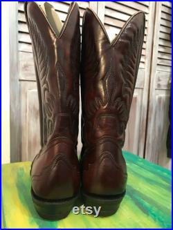 Cowboy western boots vintage men's Boulet red leather size 8 made in CANADA