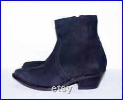 Custom Handmade Black Stretch Suede Insulated Ankle Cowboy Boots. US Men Size 9, US Women Size 11