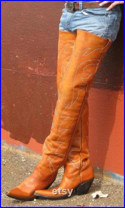 Custom Made 37 Inches Tall Leather Cowboy Boots 2 inch To 5 inch High Heels Made To Order.