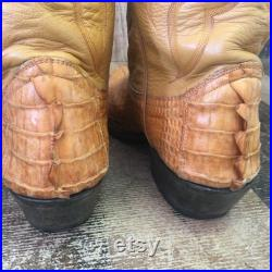 Custom Vtg Honey Caiman Tail Cowboy Boots Mens 9.5 EE