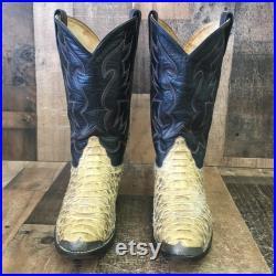 Custom Vtg Snakeskin Cowboy Boots Mens 8.5 D
