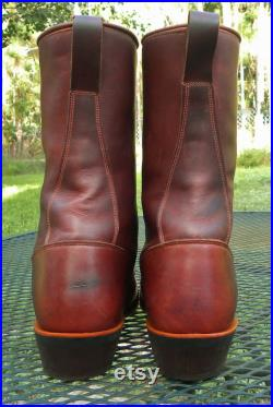 DOUBLE H (HH) 10 Oiled Leather Packer Western Boots brown Lace Up Kiltie working Cowboy Rodeo Mens 8.5EE