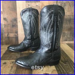 Dan Post Smooth Ostrich Cowboy Boots Mens 8 EW