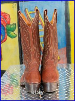 Dan Post Vintage Cowboy Boots, Cognac Leather, size 11 D, made in Spain