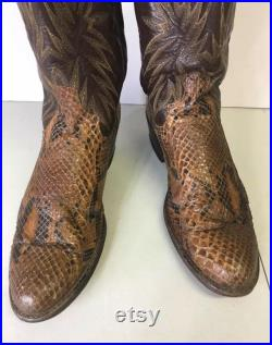 Dan Post Vtg Snakeskin Cowboy Boots Mens 10 narrow