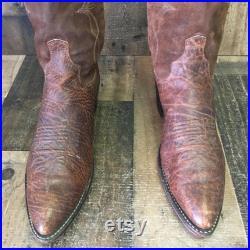 Dan Post Vtg Suede Cowboy Boots Mens 10 D