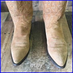 Dan Post Vtg Suede Cowboy Boots Mens 13 D