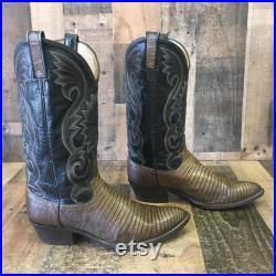 Dan Post Vtg Teju Lizard Cowboy Boots Mens 9.5 D