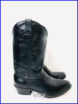 Deadstock Men's Size 9.5 D Rare Florsheim Western Cowboy Boots Black Leather Stacked Heel Pointy Toe Stitching made USA