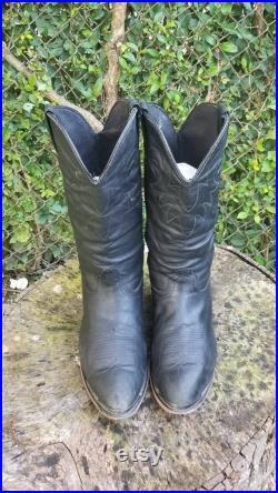 Durango Black Leather Western Boho Cowboy Boots Size 9.5 Biker Moto Pull On Boots Vintage 90s