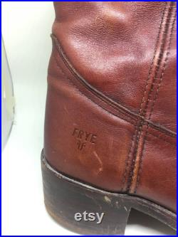 FRYE Men's 8D Leather Pull Up Campus Heel Riding Boots Brown