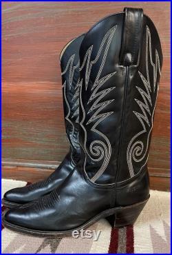 FRYE Men's Vintage Black Leather Cowboy Western Boots size 9.5
