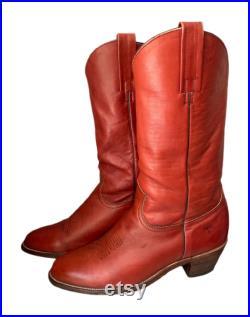 Frye Boots Western Cognac Brown Vintage 70s Frye Cowboy Boots Men s 9.5D