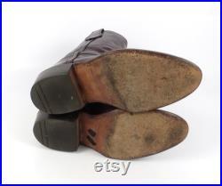 Frye Cowboy Boots Vintage 1980s Western Burgundy Mens size 7 1 2
