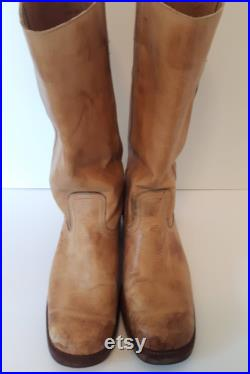 Gorgeous Vintage Campus Style Leather Boots, Handcrafted Boots, Made in Brazil Boots, Boho Fashion, Vintage Unisex Leather Boots