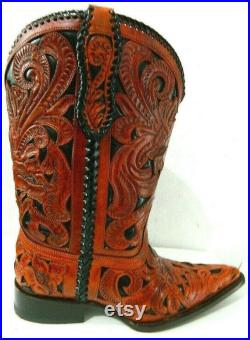 Hand toled made to order boots genuine leather hand craved and hand braided.