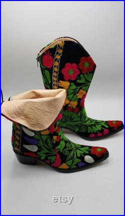 Handembroidered Leather Men's Boots, Cowboy Style, Western Boots, Custom Made, FREE SHIPPING