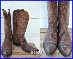 Handmade Cowboy Boots Handcrafted in New York Vintage 90s Boots Men's Boots Strong Sturdy Leather Stitched Embroidered size 12 D