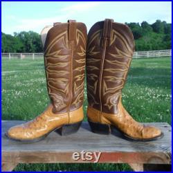 Handmade Laramie Peanut Brittle Brown Full Quill Ostrich Vintage Cowboy Boots Size 7-8