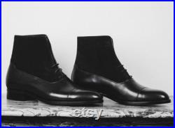 Handmade Men's Ankle Black Lace-Up Leather Cap Toe Formal Boots
