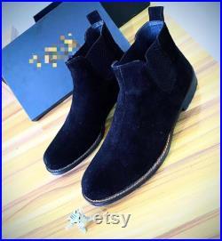 Handmade men s half black suede stylish Chelsea boots, fashion designer boots