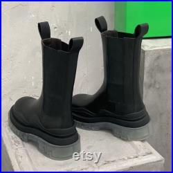 Handmade women s men s leather boots EU35-45
