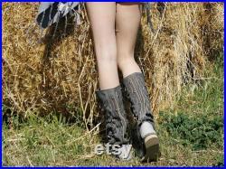 INDIANINI DOC Stivali estivi nello stile dei Nativi Indiani D'america Mocassini a piedi nudi da donna Stivali in vera pelle griggio