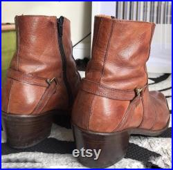 Incredible Western Brown Tan Harness Cuban Boots Psych Mod Hippie Cowboy