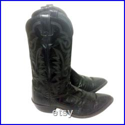 JUSTIN Black Ostrich Leg Cowboy Boots Men's Size 9 EEE Country Western Vintage Exotic Leather Extra Wide