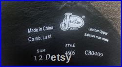 JUSTIN George Strait Cowboy BOOTS Mens 12 D Black Leather Western